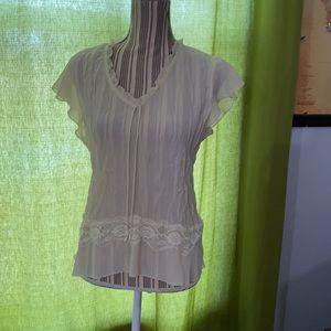 Allison Taylor cream sheer top lace